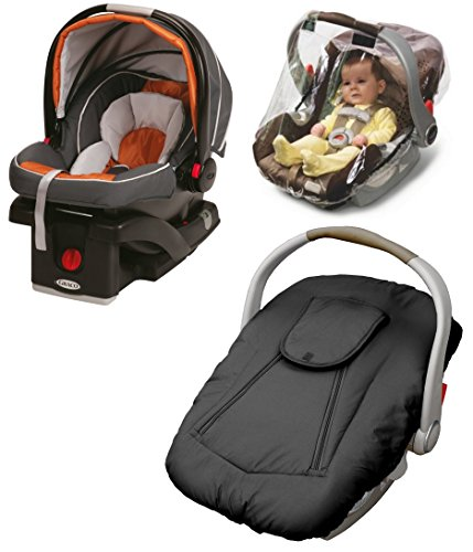 Graco SnugRider Click Connect 35 Infant Car Seat with Deluxe Weather Cover & Weather Shield, Tangerine (Graco Snug Ride Car Seat Cover compare prices)