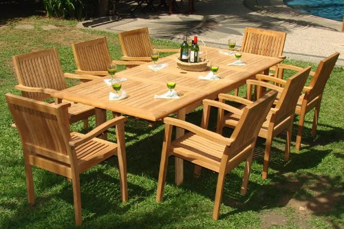 "New 9 Pc Luxurious Grade-A Teak Dining Set -94"" Rectangle Table And 8 Stacking Arm Chairs [Model:LB4]"