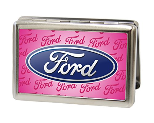 Ford Automotive - Oval w/ Text on Pink - Metal Multi-Use Wallet Business Card Holder (Business Card Holder Shark compare prices)