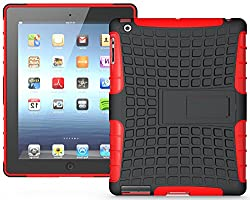 Heartly Flip Kick Stand Hard Dual Armor Hybrid Bumper Back Case Cover For Apple iPad Mini 2 and iPad Mini 3 Tablet With Retina Display - Red