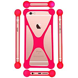 Casotec Universal Silicone Bumper Frame Soft Gel Phone Case Cover for Micromax Bolt A069 - Pink