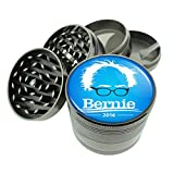 Dark Cool Gray / Titanium Zinc Metal Grinder Bernie Sanders S6 4 Piece Diamond Cut Teeth 8oz Heavy Duty Presidential Candidate