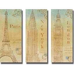 Travel Monuments (New York, London, & Paris) by John Zaccheo 3-pc Premium Stretched Canvas Set (Ready-to-Hang)