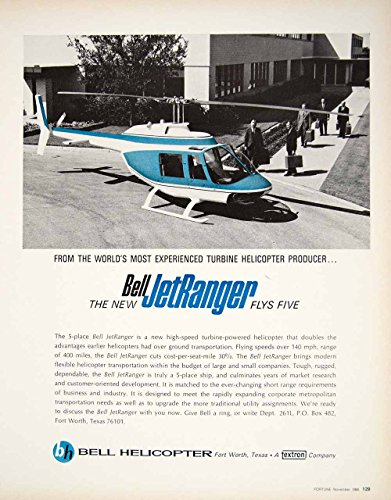 1966 Ad Vintage Bell JetRanger Helicopter Turbine Powered Business Aircraft YFM3 - Original Print Ad