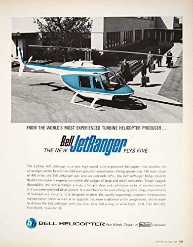 1966 Ad Vintage Bell JetRanger Helicopter Turbine Powered Business Aircraft YFM3 - Original Print Ad