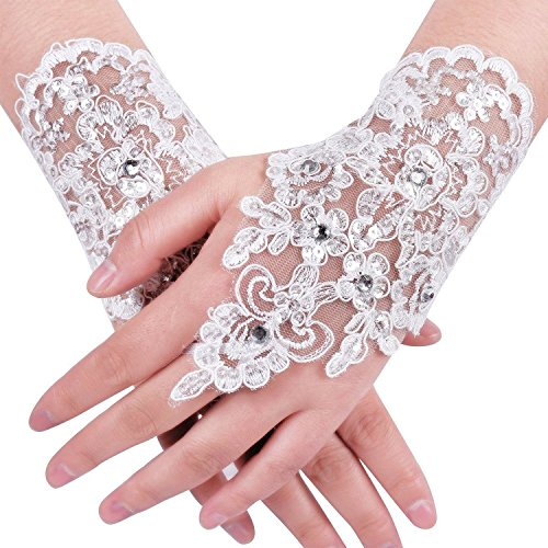 MisShow Lace Fingerless Rhinestone Bridal Gloves for Wedding Party,White,One Size