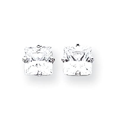 14ct White Gold 6mm Princess Cut Cubic Zirconia Earrings