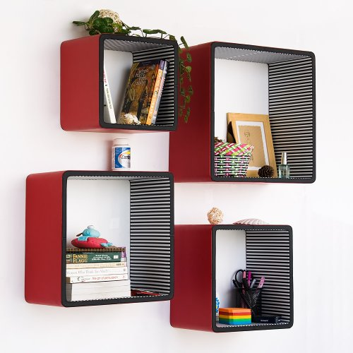 Trista - [Red & Black] Square Leather Wall Shelf / Bookshelf / Floating Shelf (Set of 4)