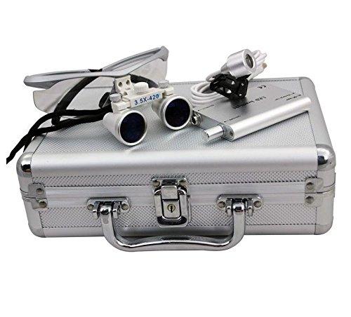 New 3.5X 420Mm Dental Surgical Binocular Loupes +Head Light Lamp +Aluminum Box(Us Stock) (Silver)