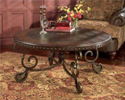 Signature Design by Ashley Rafferty Round Cocktail Table Dark Brown 0