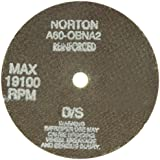 """Norton Charger Small Diameter Reinforced Abrasive Cut-Off Wheel, Type 01 Flat, Aluminum Oxide, 3/8"""" Arbor, 4"""" Diameter, 0.040"""" Thickness, 60 Grit  (Pack of 5)"""