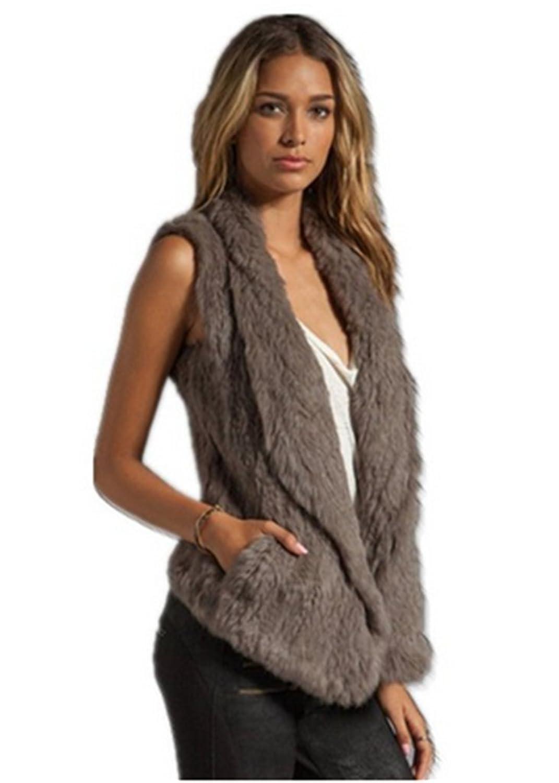 YR Lover Damen Winter Warm Echter Kanichen Pelz Weste Gilet günstig kaufen