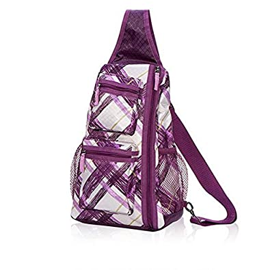 Thirty One NEW Sling-Back Bag In Plum Plaid - 4538: Handbags: Amazon