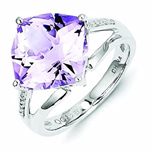 Sterling Silver Diamond and Rose De France Amethyst Ring - Size R 1/2 - JewelryWeb