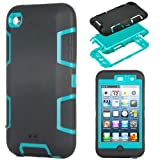 MagicSky Robot Series Hybrid Case for Apple iPod Touch 4 4th Generation - 1 Pack - Retail Packaging - Blue/Black
