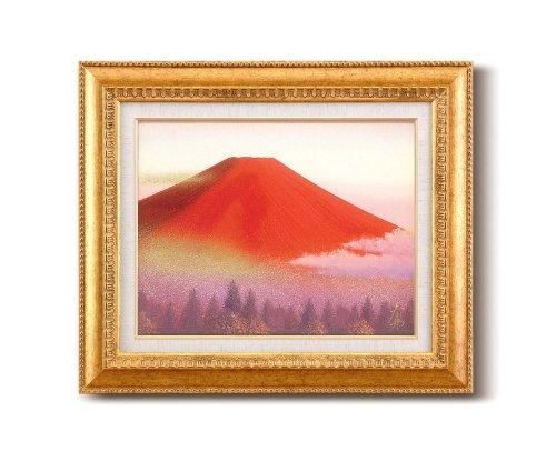 手描き油絵 徳田春邦油絵額F6金 「赤富士」/ 絵画 壁掛け のあゆわら
