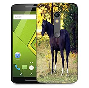 Snoogg Dark Black Horse Designer Protective Phone Back Case Cover For Motorola Moto X Play
