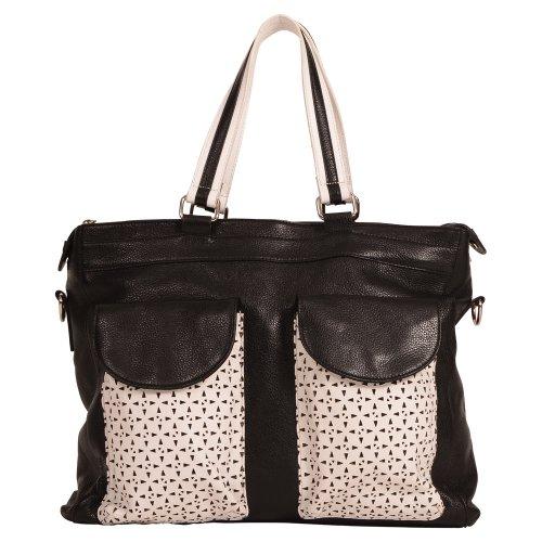 Mary & Marie Women'S La Dolce Vita Diaper Bag Black And White