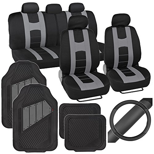 PolyCloth Sport Seat Covers Rubber Floor Mats & Steering Wheel Cover for Auto Car SUV Truck - Two Tone Black & Gray (Seat Covers 2000 Camry compare prices)