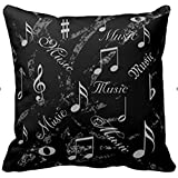 Black And Grey Music Notes Throw Pillows Custom Throw Pillow Case Personalized Cushion Cover Pillowcase Square Pillow Cover 16x16