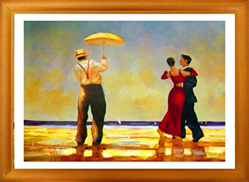 """Dancing Butler"" Framed Fantastic Fine Art Print In Natural Wood Frame With Glass, Romantic Dancing Scene Famouse Printed Artwork Based On Very Popular Oil Painting On Canvas."