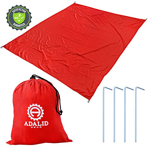 Beach Blanket with Accessories: Nylon Tote Pouch & 4 Stakes / Pegs - Also Used as Outdoor Camping Gear, Oversized Mat, Shade Tarp and Picnic Throw (Lava Red, Medium)