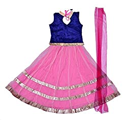 GHAGRA CHOLI IN POLY BROCADE AND NETPink5-6y