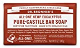 Dr. Bronners Magic Soaps Pure Castile Soap, All One Hemp Eucalyptus, 5 Ounce Bars (Pack Of 6)