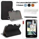 Foxnovo 4-in-1 PU Flip Case Screen Guard Stylus Pen Cloth Set for Lenovo IdeaTab A1000 7-inch Tablet PC (Black)