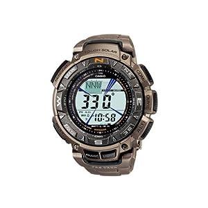 CASIO Pro Trek PRG-240T-7ER - Reloj de caballero de cuarzo, correa de titanio color plata