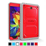 Fintie Samsung Galaxy Tab 4 7.0 Case [CaseBot Tuatara] - Rugged Unibody Dual Layer Hybrid Full Protective Cover with Built-in Screen Protector and Impact Resistant Bumper, Lifetime Warranty, Red