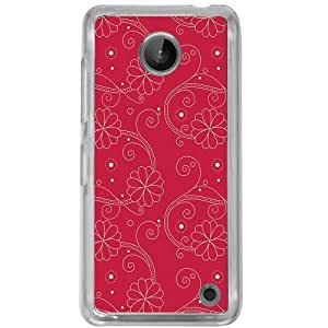 Casotec Floral Red White Design 2D Hard Back Case Cover for Nokia Lumia 630 - Clear