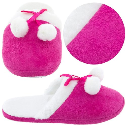 Cheap Hot Pink Slippers with White Faux Fur Trim for Women (B004Z241AE)