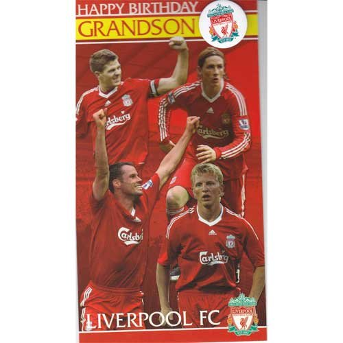Liverpool FC Grandson Birthday Card With Badge – General Open Card Size 125mm x 230mm