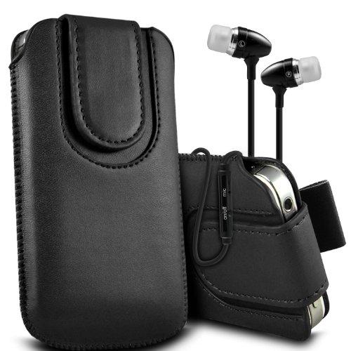 ( Black + Earphone ) Sony Xperia E3 Dual Sim Protective Stylish Fitted Faux Magnetischer Button Lasche Tasche Skin Case Cover mit Premium Qualität in Ohrhörer Stereo Freisprecheinrichtung Headset mit integriertem Mikrofon Mic und On-Off -Button von ONX3
