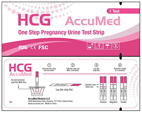 AccuMed® Pregnancy (HCG) Test Strips Kit, Clear and Accurate Results, FDA Approved and Over 99% Accurate, 100 count - 1