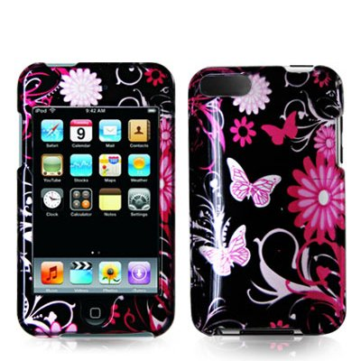 Pink Butterfly Flowers 2D Design Crystal Hard Skin Case Cover for Ipod Touch 2nd and 3rd Generation 2g 3g 2 3 8gb 16gb 32gb 64gb by Electromaster