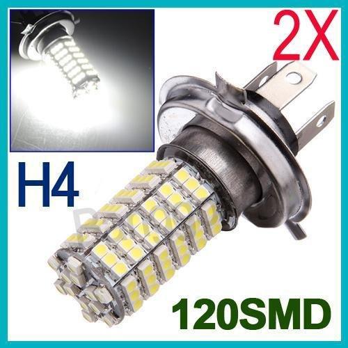 2X H4 Voiture 120 Led 3528 Smd Ampoule Antibrouillard Lampe Blanc Feux De Jour