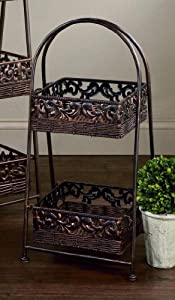 "2-Tier Square 26""H Rattan Basket Display Stand"