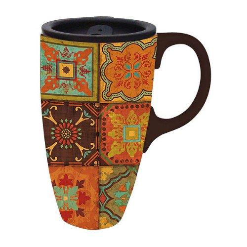 """17 Oz Retro Style """"Eastern Spice"""" Ceramic Boxed Travel Mug 6"""""""