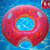 Rilahy Inflatable Pool Tube With Safety Handles Large Strawberry Pink Donut Pool Floats For Kids Teens and Adults Outdoor Swimming Float Lounger Swim Ring Party Raft Floatie Toy For Pool or Beach