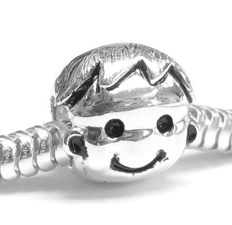 Sterling Silver Cute baby Boy Kid Bead Charm Compatible with Pandora European Story Charm Bracelets