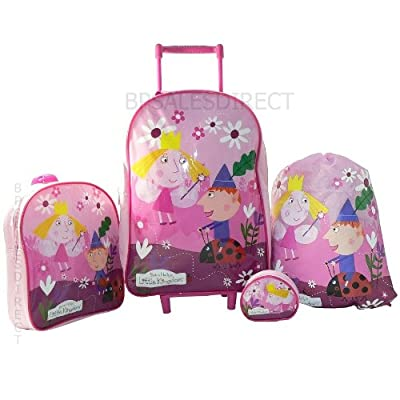 4pcs Ben And & Holly Girls Trolley Wheeled Bag Luggage Set Trolley Backpack  from Trademark