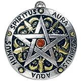 ▼サー・ガウェインズ・グリフ・ペンダント●アーサー王伝説において、「正午までの3時間は力が3倍になる」などと伝えられ、ペンタグラムのシンボルの入った盾を持つことなどでも知られるガウェイン卿をイメージして作成された紋章風のペンタグラムです。