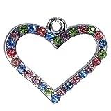 12x DIY Jewelry Making: Multicolored Rhinestone Heart Pendant Charm Piece