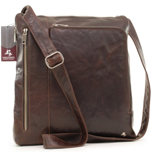 Visconti A4 Leather Messenger Bag - iPhone/MP3 Compatible - Texas Brown - TX-24