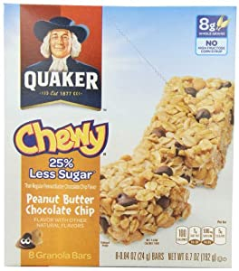 Quaker Peanut Butter Chocolate Chip Chewy Granola Bars Reduced Sugar, 24g-Bars, 8 Bars per Pack (Pack of 6)