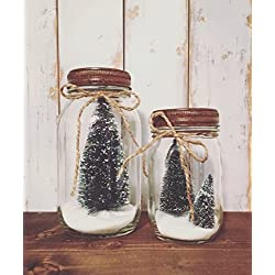 Christmas Decorations Farmhouse Hanukkah Kwanzaa | Snowy Pine Trees in a Jar | Set of Mason Jars | Primitive Rustic Antique Shabby Chic Holiday Home Decor | Handmade Christmas Decorations