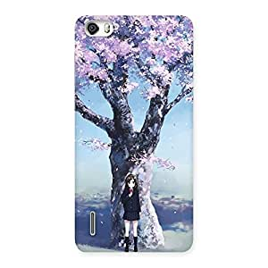 Cute Cherry Blossom Girl Back Case Cover for Honor 6