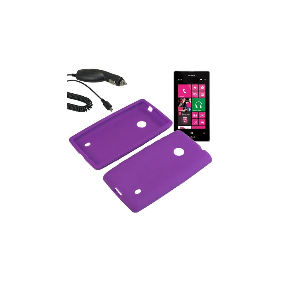 Aimo Silicone Sleeve Gel Cover Skin Case for T Mobile Nokia Lumia 521 + Car Charger Purple Cell Phones & Accessories